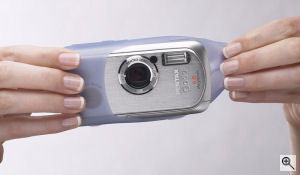 Pentax's Optio WPi digital camera. Courtesy of Pentax, with modifications by Michael R. Tomkins. Click for a bigger picture!
