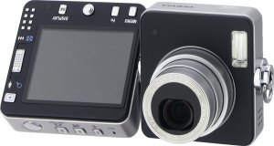Pentax's Optio X digital cameracorder. Courtesy of Pentax, with modifications by Michael R. Tomkins. Click for a bigger picture!