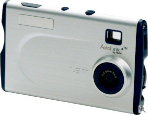 Oregon Scientific's 'flash thincam' DS 6628 digital camera. Courtesy of Oregon Scientific, with modifications by Michael R. Tomkins. Click for a bigger picture!