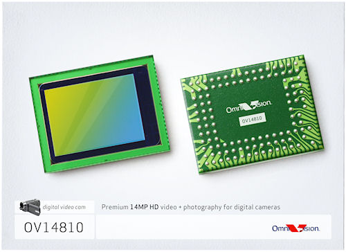 "The OV14810 1/2.33"" 14 megapixel CMOS image sensor for digital still / video cameras. Photo provided by OmniVision Technologies. Click for a bigger picture!"