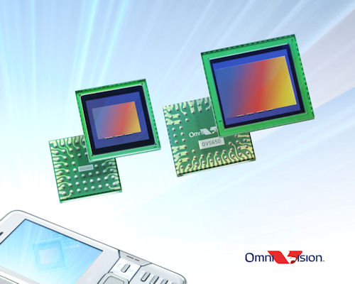 OmniVision's two megapixel OV2665 system-on-chip (left) and five megapixel OV5650 RAW image sensor (right) for camera phones. Photo provided by OmniVision Technologies Inc. Click for a bigger picture!
