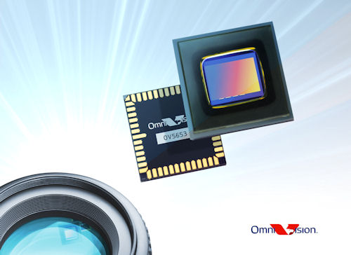 OmniVision's five megapixel OV5653 CMOS image sensor is designed for use in both still and video cameras. Photo provided by OmniVision Technologies Inc. Click for a bigger picture!