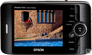 Epson's P-4000 photo viewer. Courtesy of Epson America Inc., with modifications by Michael R. Tomkins. Click for a bigger picture!