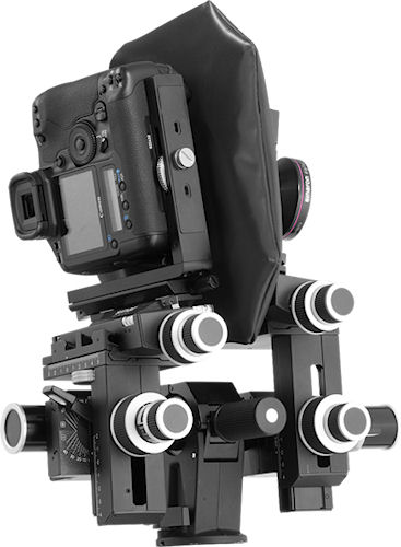 Sinar p3-slr with Canon DSLR mounted, in portrait orientation. Photo provided by Sinar Photography AG.