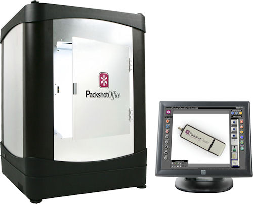 The PackshotOffice system includes a lightbox and touchscreen display. Photo provided by Sysnext. Click for a bigger picture!