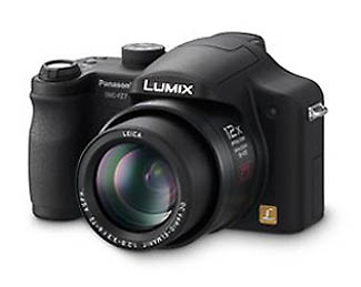 Panasonic's Lumix DMC-FZ7 digital camera. Courtesy of Panasonic, with modifications by Imaging Resource. Click for a bigger picture!