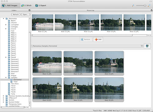 STOIK's PanoramaMaker for Mac: Image selection screen. Photo provided by STOIK Imaging. Click for a bigger picture!