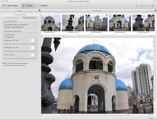 STOIK's PanoramaMaker for Mac: Image stitching screen. Photo provided by STOIK Imaging. Click for a bigger picture!