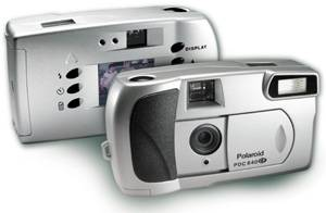 Polaroid's PDC 640  CF digital camera, shown front and back together. Courtesy of Polaroid Corp.