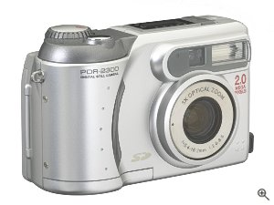 Toshiba's PDR-2300 digital camera. Courtesy of Toshiba, with modifications by Michael R. Tomkins. Click for a bigger picture