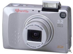 Toshiba's PDR-3310 digital camera. Courtesy of Toshiba, with modifications by Michael R. Tomkins. Click for a bigger picture!