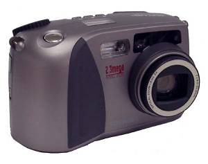 Toshiba's PDR-M61 digital camera, front right quarter view. Courtesy of Toshiba.