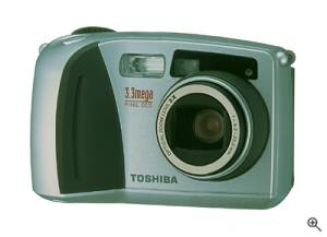 Toshiba's PDR-M65 digital camera, front right quarter view. Courtesy of Toshiba - click for a bigger picture!
