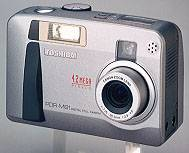 Toshiba's PDR-M81  digital camera, front view. Courtesy of Toshiba.