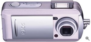 Toshiba's PDR-T20 digital camera. Courtesy of Toshiba Japan, with modifications by Michael R. Tomkins. Click for a bigger picture!