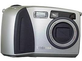 Toshiba's PDR-M60 digital camera, front view. Courtesy of Toshiba America Information Systems Inc.
