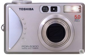 Toshiba's PDR-5300 digital camera. Courtesy of Toshiba, with modifications by Michael R. Tomkins. Click for a bigger picture!