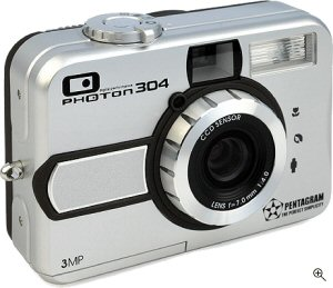 Pentagram's Photon 304 digital camera. Courtesy of Pentagram, with modifications by Michael R. Tomkins. Click for a bigger picture!