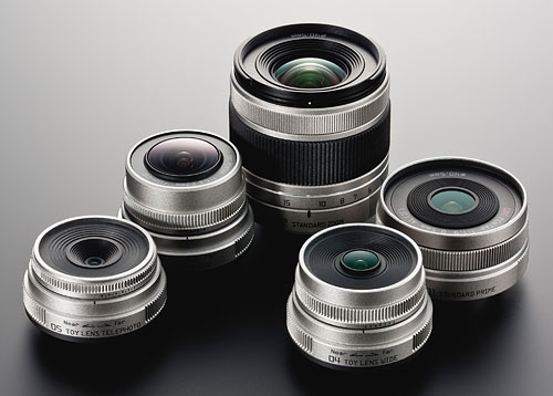 Pentax's full selection of Q-mount lenses consists of five models at launch. Photo provided by Pentax Imaging Co. Click for a bigger picture!
