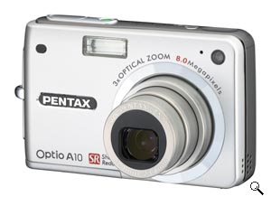Pentax's Optio A10 digital camera. Courtesy of Pentax, with modifications by Michael R. Tomkins. Click for a bigger picture!