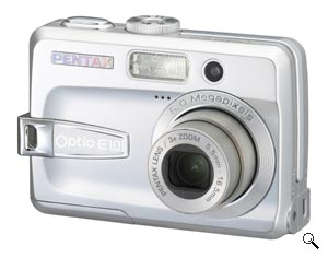 Pentax's Optio E10 digital camera. Courtesy of Pentax, with modifications by Michael R. Tomkins. Click for a bigger picture!