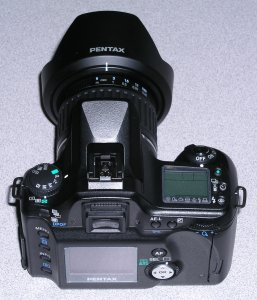 Pentax's *ist D digital SLR. Copyright (c) 2003, The Imaging Resource. All rights reserved. Click for a bigger picture!