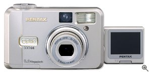 Pentax's Optio 330GS digital camera. Courtesy of Pentax, with modifications by Michael R. Tomkins.