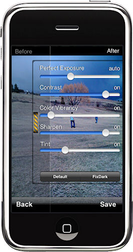 Perfectly Clear showing control sliders in portrait mode on the iPhone. Photo provided by Athentech Imaging Inc. Click for a bigger picture!