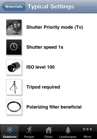 Browsing typical settings for waterfall photography in Photocaddy. Screenshot provided by Aspyre Solutions Pty Ltd.