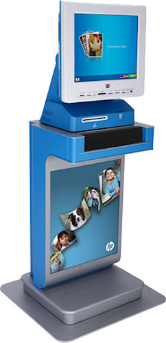 The HP Photo Center 5 Premier customer order station. Photo provided by Hewlett-Packard Development Company, L.P.
