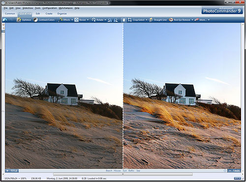 Using the Quick Fix tool in Photo Commander 9. Screenshot provided by Ashampoo GmbH & Co. KG. Click for a bigger picture!