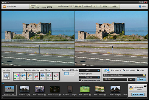Batch processing images in PhotoEQ. Screenshot provided by SoftColor Oy. Click for a bigger picture!