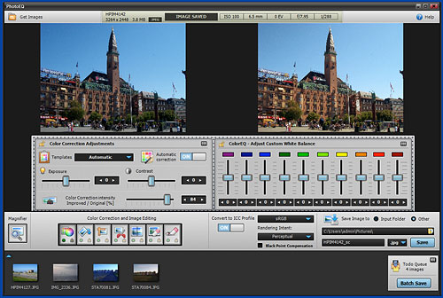 PhotoEQ's color correction adjustments dialog. Screenshot provided by SoftColor Oy. Click for a bigger picture!