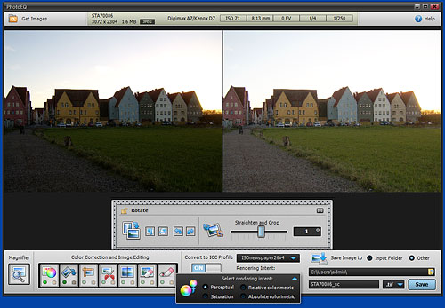 Straightening an image and converting the color space in PhotoEQ. Screenshot provided by SoftColor Oy. Click for a bigger picture!