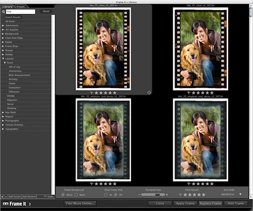 onOne's Photo Essentials 3: Frame It! module. Screenshot provided by onOne Software Inc. Click for a bigger picture!