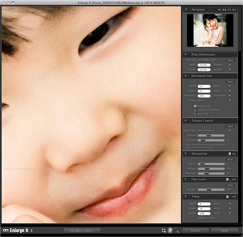 onOne's Photo Essentials 3: Enlarge It! module. Screenshot provided by onOne Software Inc. Click for a bigger picture!