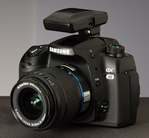 Jobo's PhotoGPS device mounted on a Samsung GX10 digital SLR. Courtesy of Geotate, with modifications by Michael R. Tomkins. Click for a bigger picture!