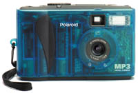 Polaroid's  PhotoMAX MP3 digital camera, front view. Courtesy of Polaroid.