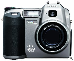 Epson's PhotoPC 3100Z digital camera, front view. Courtesy of Epson. Click for a bigger picture!