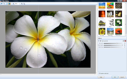 Serif PhotoPlus X4, showing the artistic filter selection screen. Screenshot provided by Serif (Europe) Ltd. Click for a bigger picture!