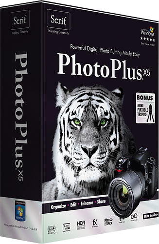 PhotoPlus X5's product packaging. Rendering provided by Serif Europe Ltd. Click for a bigger picture!