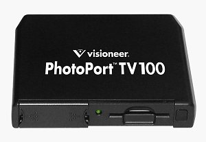 Visioneer's PhotoPort TV 100 set-top box. Courtesy of Visioneer Inc., with modifications by Michael R. Tomkins.