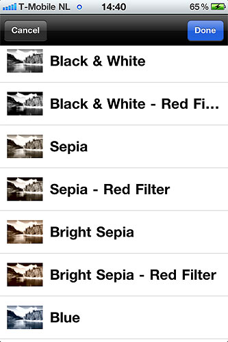 Photo Sense includes a variety of preset effects. Screenshot provided by VeprIT. Click for a bigger picture!