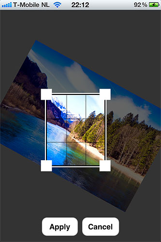 Rotating an image in Photo Sense for iOS. Screenshot provided by VeprIT. Click for a bigger picture!