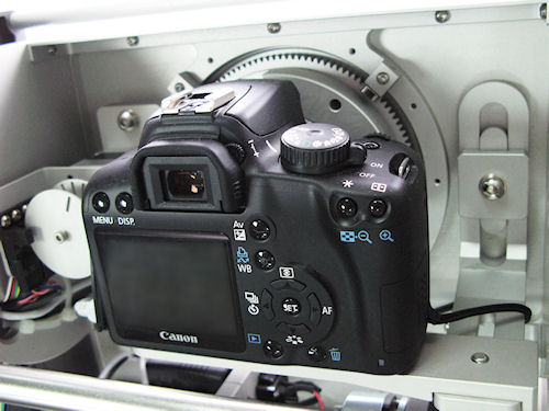 The Photosimile 5000 is based around a Rebel-class Canon DSLR. Photo provided by Ortery Technologies. Click for a bigger picture!
