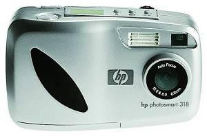 Hewlett Packard's PhotoSmart 318 digital camera. Courtesy of Hewlett Packard, with modifications by Michael R. Tomkins.