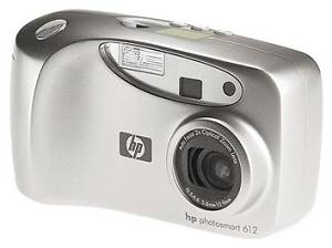 Hewlett Packard's PhotoSmart 612 digital camera. Courtesy of Hewlett Packard, with modifications by Michael R. Tomkins.