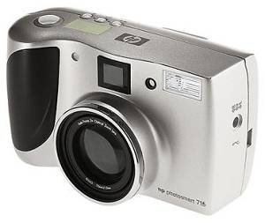 Hewlett Packard's PhotoSmart 715 digital camera. Courtesy of Hewlett Packard, with modifications by Michael R. Tomkins.