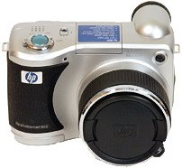 HP's PhotoSmart 850 digital camera. Courtesy of Hewlett-Packard Co., with modifications by Michael R. Tomkins.