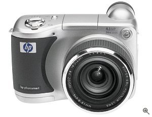 HP's PhotoSmart 850 digital camera. Courtesy of Hewlett-Packard Co., with modifications by Michael R. Tomkins. Click for a bigger picture!